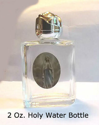Our Lady of Lourdes Glass Holy Water Bottle, 2 Oz.,  HOLY WATER NOT INCLUDED. Holy Water Bottle