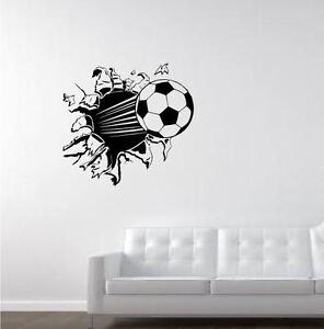 football breaking through wall wall sticker wall art decal eat sleep dream football vinyl wall sticker jaklot