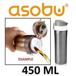 NEW ASOBU DIVA BEVERAGE CONTAINER VACUUM BEVERAGE CONTAINER - GREAT FOR HOT OR COLD BEVERAGES - SMOKE/WHITE COLOUR