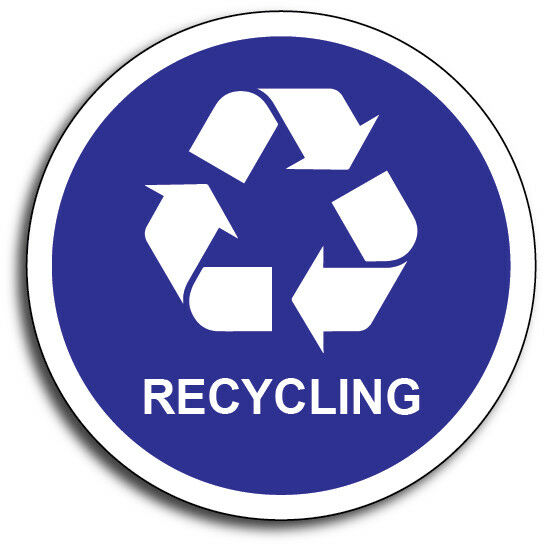 "Home Decoration - RECYCLE 4"" Blue Plastic/Cans/Bottles/Recycling/Paper Vinyl Decal 3M Sticker"
