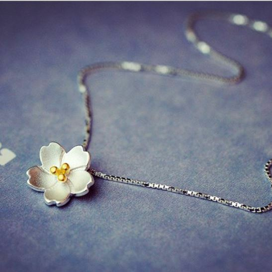 Jewellery - Cherry Blossoms Pendant 925 Sterling Silver Chain Necklace Women Jewellery gifts