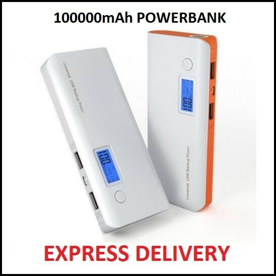LCD 100000MAH 2 USB 1A 2,1A EXTERNAL CHARGER BATTERY TABLET CHARGE POWERBANK
