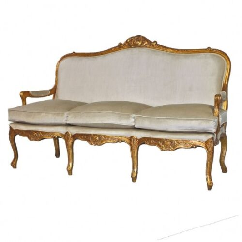 Hand Carved Louis XV Canape Sofa with Gold Leaf