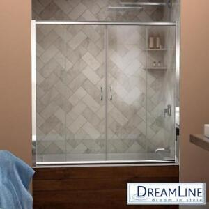 "NEW DREAMLINE SLIDING SHOWER DOORS SHDR-1160586-01 137187486 VISIONS - FITS 56"" TO 60"" WIDE x 58"" HIGH - BATH BATHROO..."