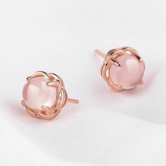 Jewellery - Women 925 Sterling Silver Pink Crystal Rose Gold Stud Earrings Jewellery Gift