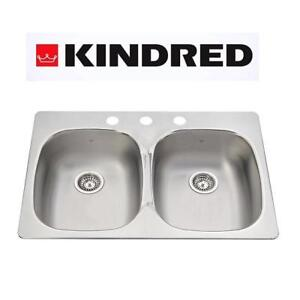 NEW KINDRED DOUBLE KITCHEN SINK pdl2031/3 207170450 TOPMOUNT REGAL