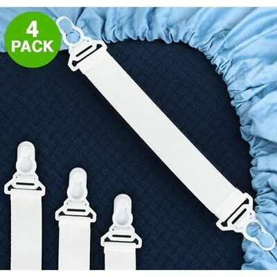4 Pack Elastic Sheet Strap/Grippers Fits Any Bed EASY TO USE, BRAND NEW (Flexible Steel Sheet)