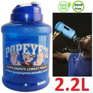 NEW POPEYE'S POWER WATER JUG 2.2L 226460645 HYDRATION BOTTLE BLUE FITNESS EXERCISE