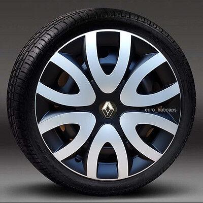 "Silver/Black 15"" wheel trims, Hub Caps,Covers to fit Renault Clio ( Quantity 4)"