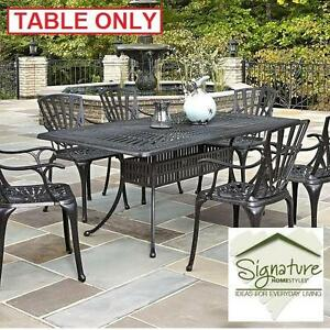 NEW HOMESTYLES LARGO PATIO TABLE - 123446357 - RECTANGULAR OUTDOOR DINING TABLES CAST ALUMINUM CHARCOAL FINISH OUTDOO...