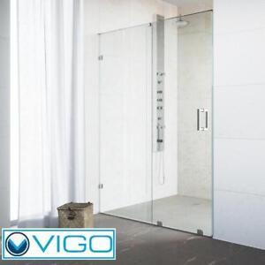"NEW VIGO RYLAND 48"" SHOWER DOORS VG6045CHCL4873 142519528 SEMI FRAMED SLIDING CHROME CLEAR GLASS SHOWERS ENCLOSURE ST..."