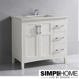 "NEW* SIMPLI HOME WINSTON 36"" VANITY WHITE CABINET WHITE QUARTZ MARBLE TOP - BATH BATHROOM VANITES CABINETS FURNITURE"