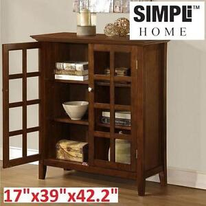 "NEW SIMPLI HOME STORAGE UNIT 17"" x 39"" x 42.2"" - DARK TOBACCO BROWN - ACADIAN COLLECTION FURNITURE 106069499"