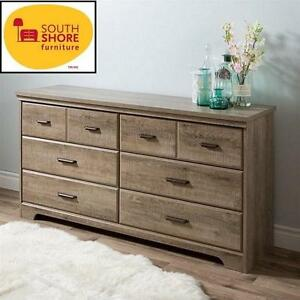 NEW SOUTH SHORE 6-DRAWER DRESSER CHEST - DOUBLE  DRAWER DRESSER - WEATHERED OAK - HOME FURNITURE BEDROOM 107155177