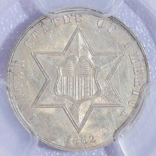 1862 Three Cent Silver Piece - PCGS Uncirculated Details - Very Nice!
