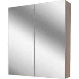 Mirror Wall Unit with Storage Grey