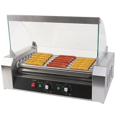 Pro Commercial Hot Dog Hotdog 7 Roller Grill Cooker Machine Stainless Steel New