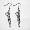 NEW Hanged Man Skeleton Halloween Gothic Silver Plated Dangle Earrings Creepy