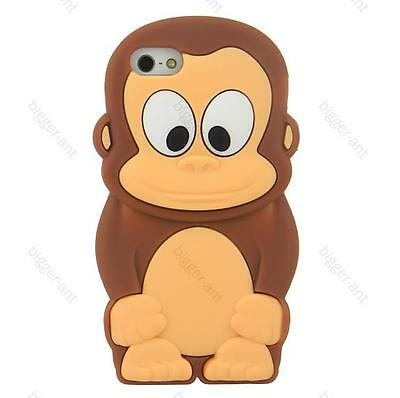 Animal 3D Baby Tiny Brown Monkey Soft Silicone Case Cover for iPhone 5 5G BIG on Rummage