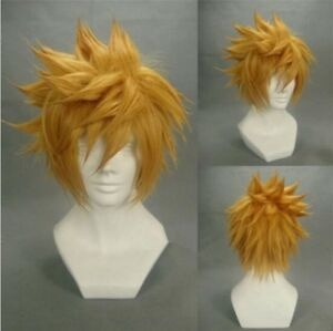Kingdom Hearts Ventus Final Fantasy Cloud Strife Roxas Cosplay costume wig+TRACK