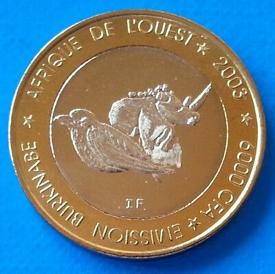 Burkina Faso 6000 CFA francs 2003 UNC Rhino Elephant Bird Bi-metallic unusual