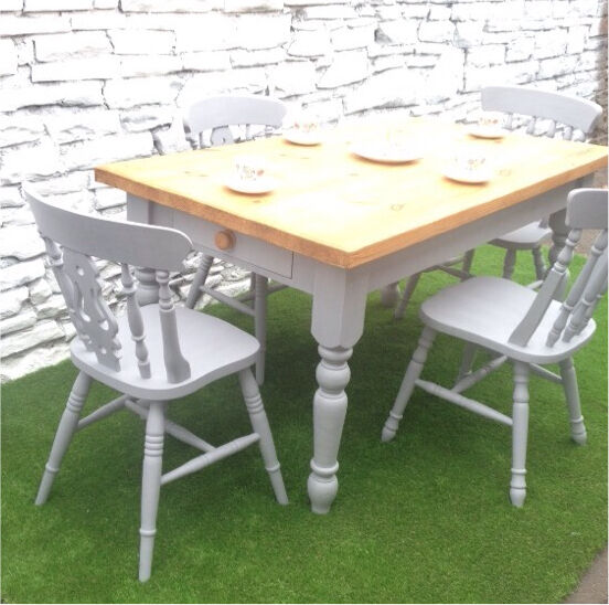 Farmhouse Table amp Chairs Hand Painted in French Grey  : 86 from www.gumtree.com size 552 x 548 jpeg 58kB