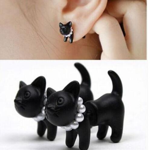Punk-Cool-Simple-Black-Stereoscopic-pearl-Cat-Kitten-Impalement-Stud-Earring-1Pc