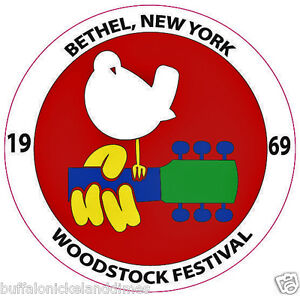 WOODSTOCK-FESTIVAL-1969-Round-Bumper-Sticker-DOVE-GUITAR-Car-Decal-Logo-5-x5