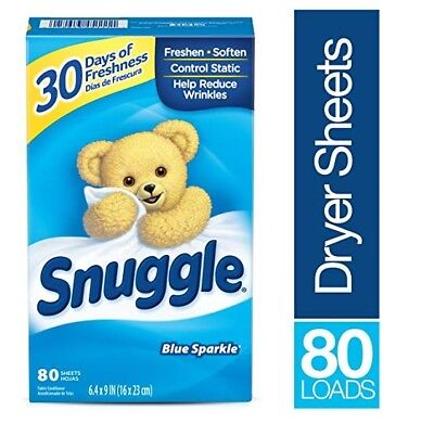Fabric Softening Sheets - SNUGGLE Fabric Softener Dryer Sheets, Blue Sparkle, 80 Count NEW