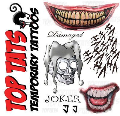 UK Joker Halloween Fancy Dress Temporary Tattoos Suicide Squad Costume