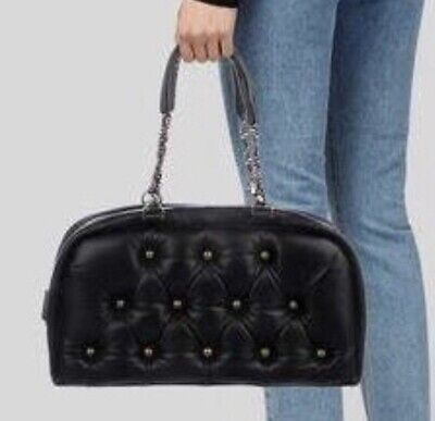 HUNTING SEASON  BLACK QUILTED LEATHER BAG  WITH CHAIN DOUBLE STRAP Preowned ()