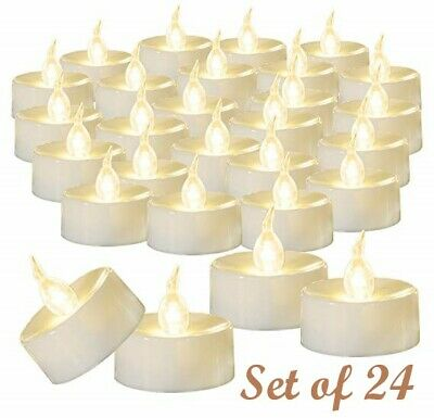 24Pcs Realistic LED Tea Light Fake Candles Flickering Flameless Battery Operated](Battery Tealight)