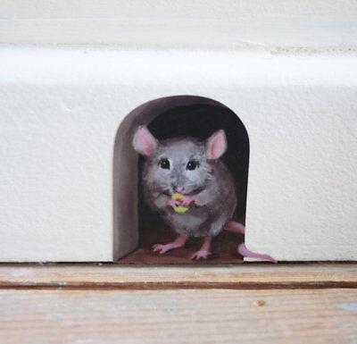 2 x Miniature Mousehole wall sticker/ decal door, cute mouse vinyl art