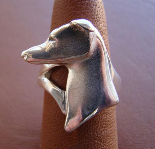 Sterling Silver Greyhound Head Study Ring
