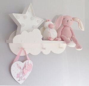 Nursery cloud shelf peg shelf 50cms wide with 3 shaker pine pegs hand painted