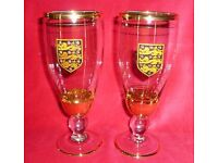 Collectable Pair of Vintage English Football FA Beer Glasses - 1960's