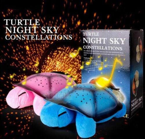 Qualität Kinder Schildkröte LED Nachtlicht Licht Musik Sterne Projektor Lampe DE