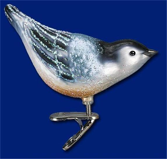 NUTHATCH CLIP ON BIRD OLD WORLD CHRISTMAS BLOWN GLASS AVIARY ORNAMENT NWT 18083