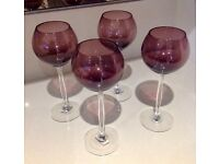 Six Elegant Tall Stem Wine Glasses