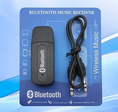 USB to 3.5mm Bluetooth Receiver AUX Audio BT Music Adapter System for Laptop Car