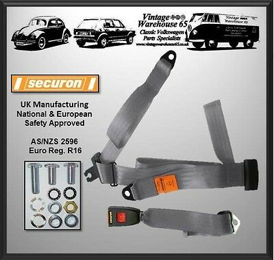 Hillman Minx  Husky All Models Rear Static 3 Point Seat Belt Kit Grey