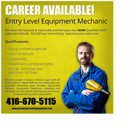 Entry Level Equipment Mechanic - WANTED