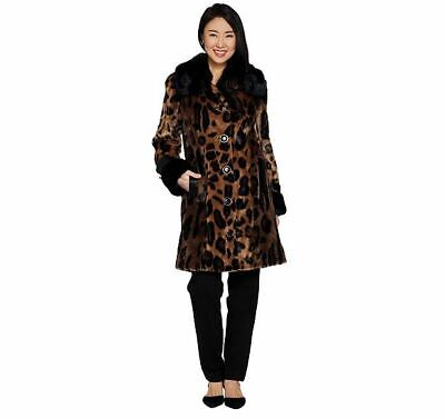 New Dennis Basso Platinum Collection Animal Print Coat A298301 1X Natural -