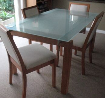 Modern glass and wood dining table  Bondi Eastern Suburbs Preview