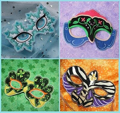 ITH In The Hoop Face Mask Applique Embroidery Designs Project Halloween - Halloween Appliques Designs