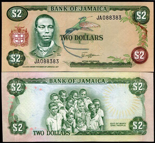 JAMAICA 2 DOLLARS P 65 SIGN 6 NO DATE UNC