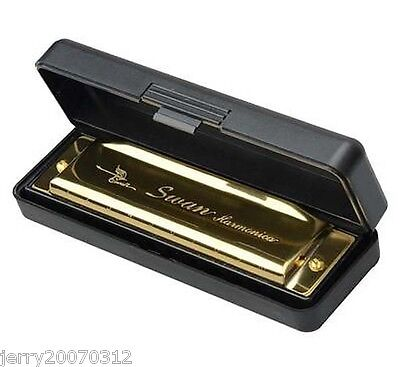 New Swan Harmonica 10 Holes Key of G with Case Golden on Rummage
