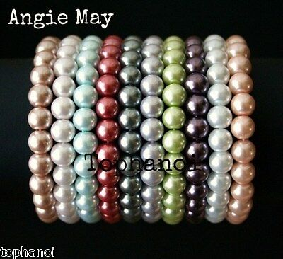 "Wholesale Lot 10* Pastel Colors Glass Pearl 7 3/4"" Stretch Bracelets  on Rummage"