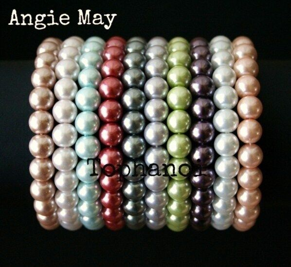 "Wholesale Lot 10* Pastel Colors Glass Pearl 7 3/4"" Stretch Bracelets"