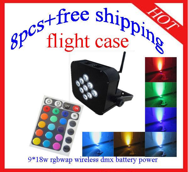 8pcs Wireless DMX512 IR Battery Power Led Par 9*18W RGBWA+UV 6 in 1 Light